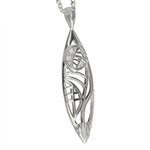 "Insch Charles Rennie Mackintosh Necklace. ""3 Wee Diamonds"". Sterling Silver. Tarnish Resistant. Cairn 101"