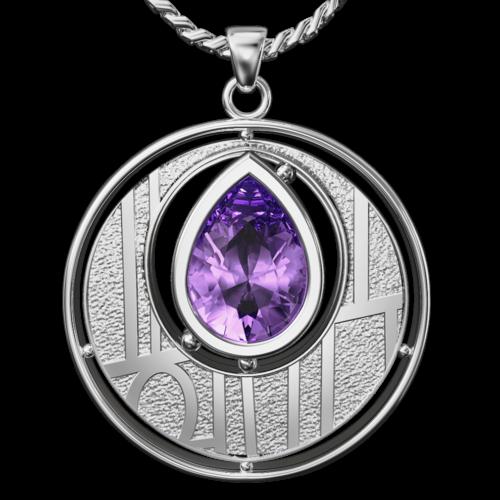 Charles Rennie Mackintosh pendant Argyle. Sterling silver. Set with Amethyst Cairn CG 135AM