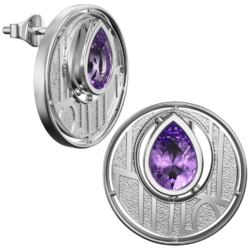 Charles Rennie Mackintosh earrings Argyle. Sterling silver. Set with Amethysts Cairn CG 136AM