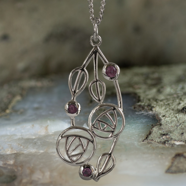 """Sterling Silver Charles Rennie Mackintosh Pendant """"Highback"""". Set With Real Amethysts. Tarnish Resistant."""