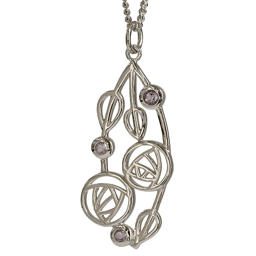 "3 amethysts. Silver necklace ""Highback"". Charles Rennie Mackintosh. Cairn pendant 150"