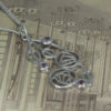 """Charles Rennie Mackintosh Necklace """"Highback"""". Set With Real Amethysts. Tarnish Resistant. Sterling Silver. Cairn 150"""