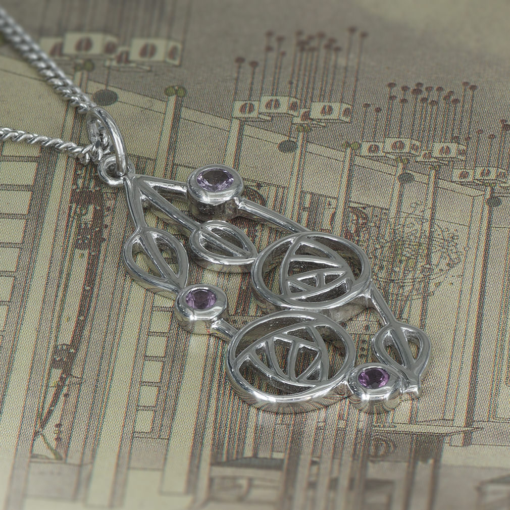 "Charles Rennie Mackintosh Necklace ""Highback"". Set With Real Amethysts. Tarnish Resistant. Sterling Silver. Cairn 150"