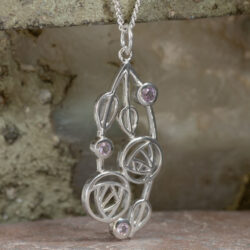 "Cairn 150 Silver Rennie Mackintosh Pendant - ""Highback"". Set With Real Amethysts 5"