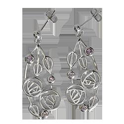 """6 amethysts. Sterling silver Charles Rennie Mackintosh earrings """"Highback"""". Cairn 151"""