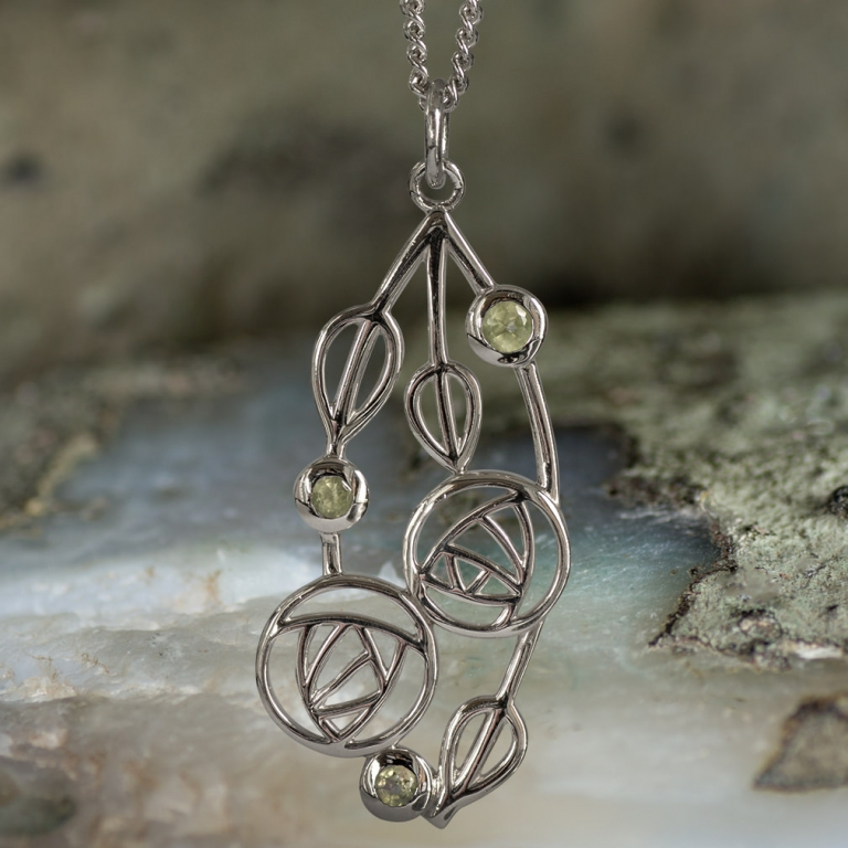 "Sterling Silver Charles Rennie Mackintosh Pendant ""Highback"". Set With Real Peridots. Tarnish Resistant."
