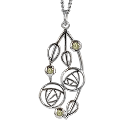 """Charles Rennie Mackintosh Necklace """"Highback"""". Set With Real Peridots. Sterling Silver. Tarnish Resistant. Cairn 154"""