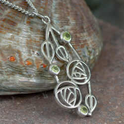"Cairn 154 Silver Rennie Mackintosh Pendant - ""Highback"". Set With Real Peridots. Tarnish Resistant. British Made. Rennie Mackintosh Jewellery."
