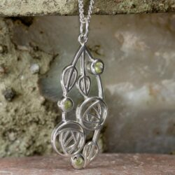 "Cairn 154 Silver Rennie Mackintosh Pendant - ""Highback"". Set With Real Peridots 5"