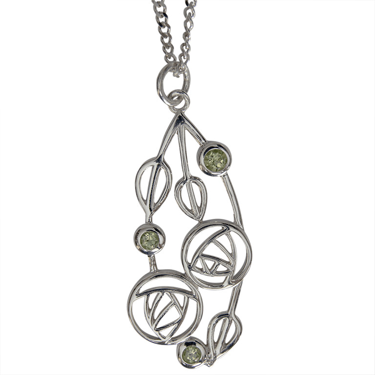 "Charles Rennie Mackintosh Necklace ""Highback"". Set With Real Peridots. Sterling Silver. Tarnish Resistant. Cairn 154"