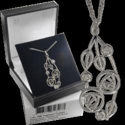 "Cairn 158 Silver Rennie Mackintosh Pendant - ""Highback"". Set With Diamonds 4"