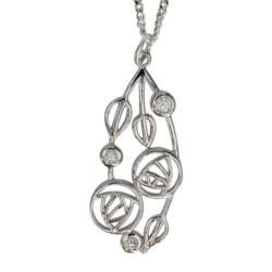 "3 diamonds. Sterling silver necklace ""Highback"". Charles Rennie Mackintosh. Cairn pendant 158"