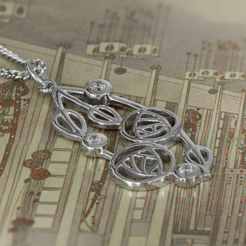 """Charles Rennie Mackintosh Necklace """"Highback"""". Set With Diamonds. Sterling Silver. Tarnish Resistant. Cairn 158"""