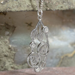 "Cairn 158 Silver Rennie Mackintosh Pendant - ""Highback"". Set With Diamonds 2"
