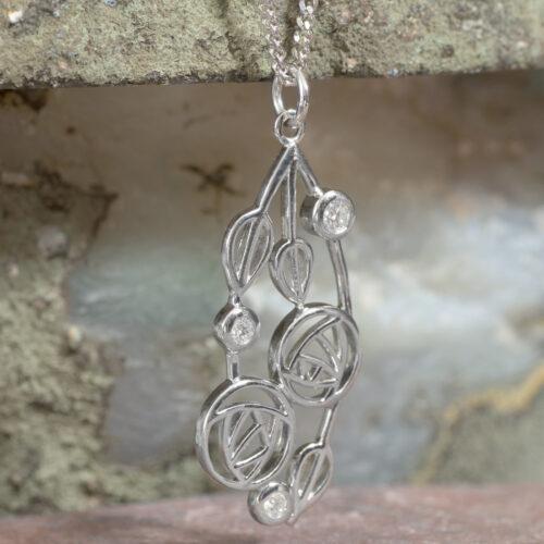 "Cairn 158 Silver Rennie Mackintosh Pendant - ""Highback"". Set With Diamonds 2"