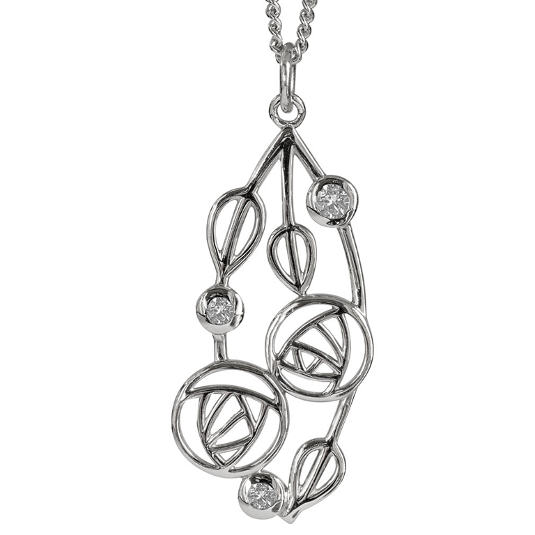 "Charles Rennie Mackintosh Necklace ""Highback"". Set With Diamonds. Sterling Silver. Tarnish Resistant. Cairn 158"