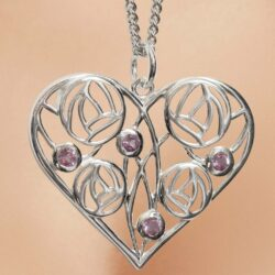 "Cairn 170 Silver Charles Rennie Mackintosh Heart Necklace ""Homeland"" Set With 4 Amethysts."