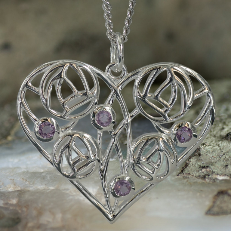 "Sterling Silver Charles Rennie Mackintosh Heart Necklace ""Homeland"" Set With 4 Amethysts. Tarnish Resistant. Cairn 170"