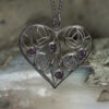 """Heart Charles Rennie Mackintosh Necklace """"Homeland"""" Set With 4 Amethysts. Sterling Silver. Tarnish Resistant. Cairn 170"""