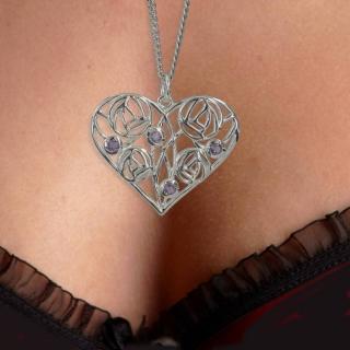 "Silver Charles Rennie Mackintosh Necklace 4 Amethysts ""Homeland"" 170 Cairn"