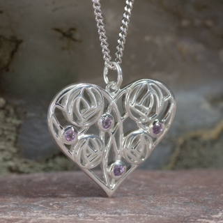 """Cairn 170 Silver Charles Rennie Mackintosh Heart Necklace """"Homeland"""" Set With 4 Amethysts 2"""