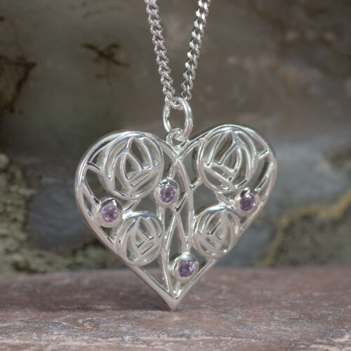 "Cairn 170 Silver Charles Rennie Mackintosh Heart Necklace ""Homeland"" Set With 4 Amethysts 2"