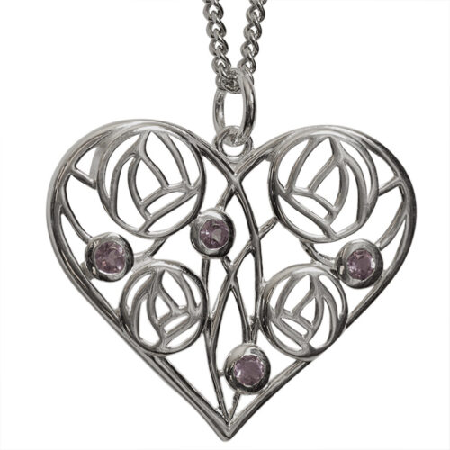 "Heart Charles Rennie Mackintosh Necklace ""Homeland"" Set With 4 Amethysts. Sterling Silver. Tarnish Resistant. Cairn 170"