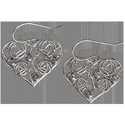 8 amethysts. Silver earrings. Charles Rennie Mackintosh. Homeland. Cairn 171