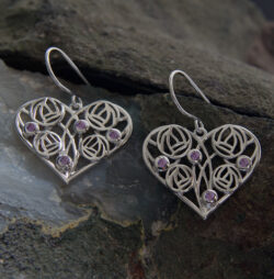 "Cairn 171 Silver Rennie Mackintosh Heart Earrings - ""Homeland"" Set With Amethysts. Tarnish Resistant. British Made. Rennie Mackintosh Jewellery."