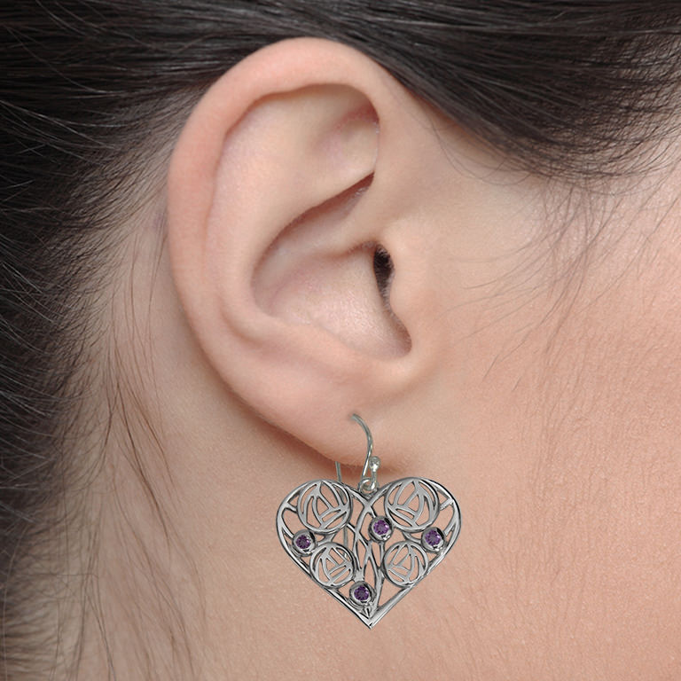 "Charles Rennie Mackintosh Heart Earrings ""Homeland"" Set With Amethysts. Sterling Silver. Tarnish Resistant. Cairn 171"