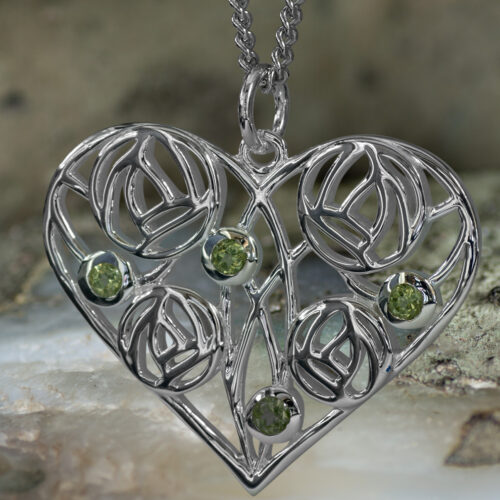 "Sterling Silver Charles Rennie Mackintosh Heart Necklace ""Homeland"" Set With 4 Peridots. Tarnish Resistant. Cairn 174"