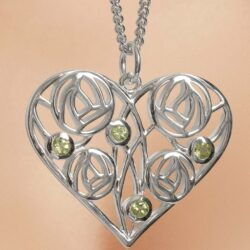 "Cairn 174 Silver Charles Rennie Mackintosh Heart Necklace ""Homeland"" Set With 4 Peridots."