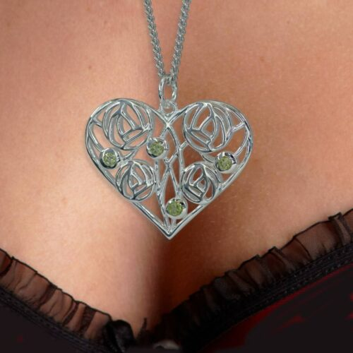 "Silver Charles Rennie Mackintosh Necklace 4 Peridots ""Homeland"" 174 Cairn"