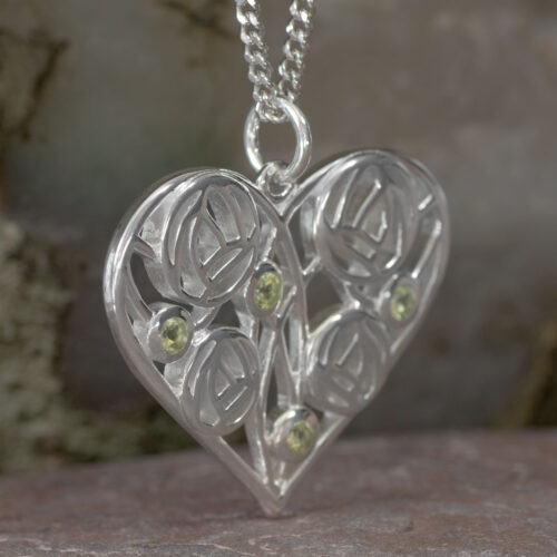 "Cairn 174 Silver Charles Rennie Mackintosh Heart Necklace ""Homeland"" Set With 4 Peridots 2"