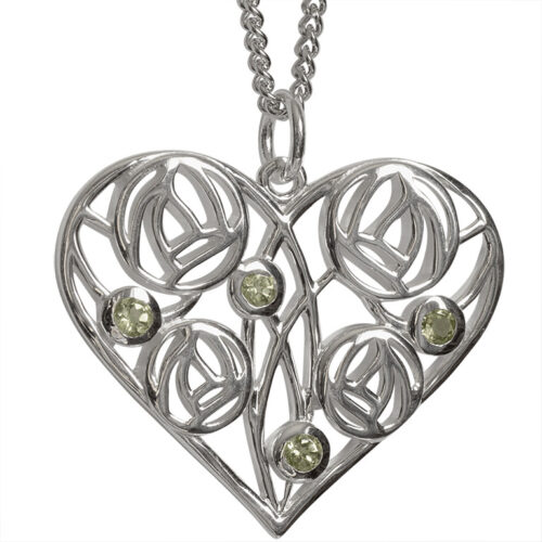"Charles Rennie Mackintosh Heart Necklace ""Homeland"" Set With 4 Peridots. Sterling Silver. Tarnish Resistant. Cairn 174"