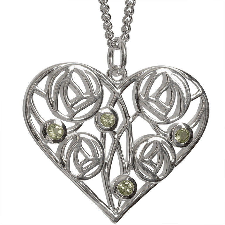 """Charles Rennie Mackintosh Heart Necklace """"Homeland"""" Set With 4 Peridots. Sterling Silver. Tarnish Resistant. Cairn 174"""
