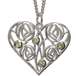 "Cairn 174 Silver Charles Rennie Mackintosh Heart Necklace ""Homeland"" Set With 4 Peridots. Tarnish Resistant. British Made."