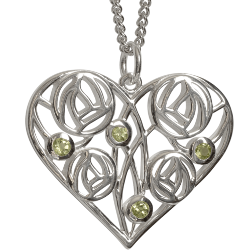 """Cairn 174 Silver Charles Rennie Mackintosh Heart Necklace """"Homeland"""" Set With 4 Peridots. Tarnish Resistant. British Made."""
