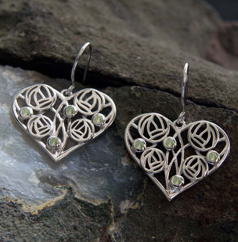 "Cairn 175 Silver Rennie Mackintosh Heart Earrings - ""Homeland"" Set With Peridots. Tarnish Resistant. British Made. Rennie Mackintosh Jewellery."