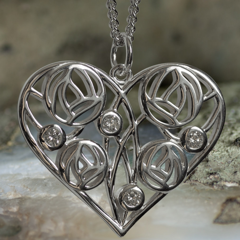 "Sterling Silver Charles Rennie Mackintosh Heart Necklace ""Homeland"" Set With 4 Diamonds. Tarnish Resistant. Cairn 178"