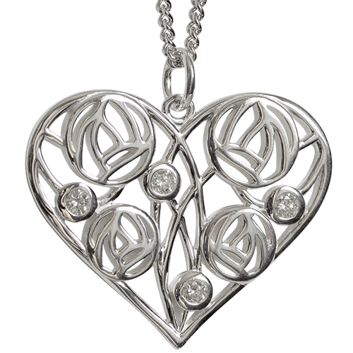 4 diamonds. Silver necklace. Charles Rennie Mackintosh. Cairn pendant 178 Homeland