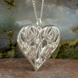 "Cairn 178 Silver Charles Rennie Mackintosh Heart Necklace ""Homeland"" Set With 4 Diamonds. 2"