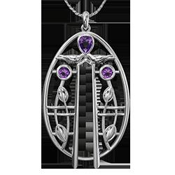 Charles Rennie Mackintosh pendant Music. Sterling silver. 3 Little Amethysts. Cairn 181AM