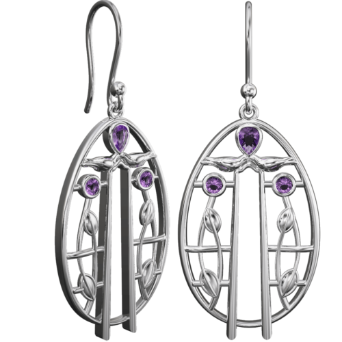 Charles Rennie Mackintosh earrings Music. Sterling silver. 6 little amethysts. Cairn 182AM