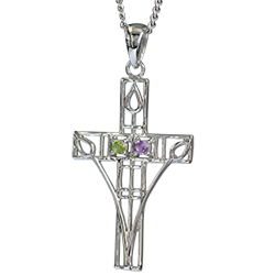 """Charles Rennie Mackintosh Necklace """"Queen's Cross"""" Set With Amethyst & Peridot. Sterling Silver. Cairn 200"""
