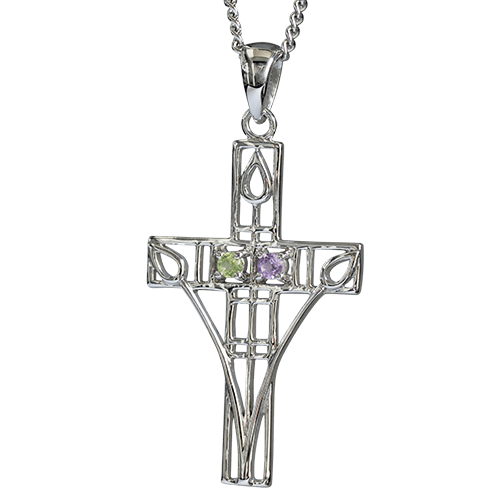 "Amethyst & peridot silver ""Queen's Cross"" necklace. Charles Rennie Mackintosh. Cairn pendant 200"
