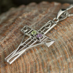 "Cairn 200 Silver Rennie Mackintosh ""Queen's Cross"" Necklace - Amethyst & Peridot. Tarnish Resistant. Art Nouveau. British Made. Rennie Mackintosh Jewellery."