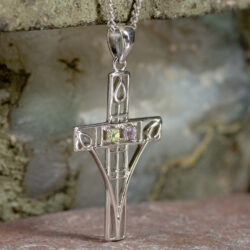 "Cairn 200 Silver Rennie Mackintosh ""Queen's Cross"" Necklace - Amethyst & Peridot 2"