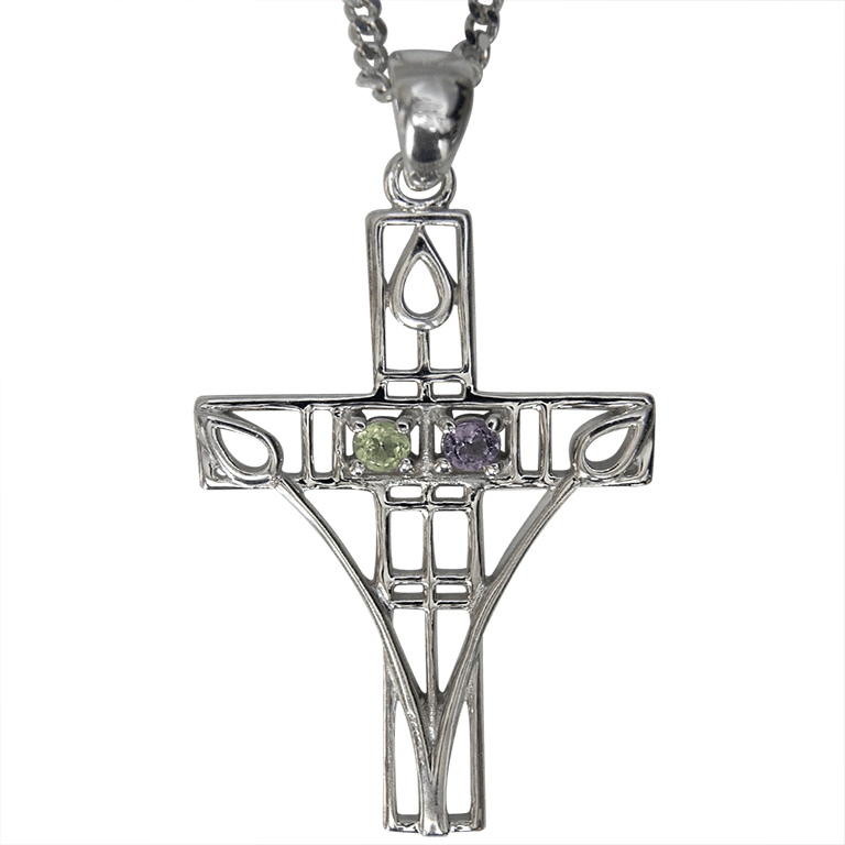 "Charles Rennie Mackintosh Necklace ""Queen's Cross"" Amethyst & Peridot. Sterling Silver. Tarnish Resistant. Cairn 200"