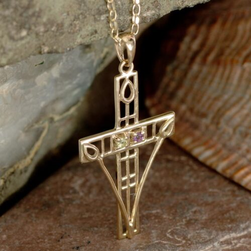 "Cairn 200GAP 9ct Gold Charles Rennie Mackintosh ""Queen's Cross"" Necklace Amethyst & Peridot. 2"